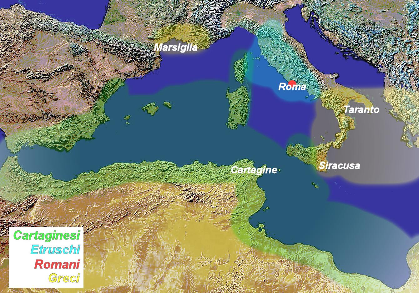 Aree di influenza sul Mediterraneo