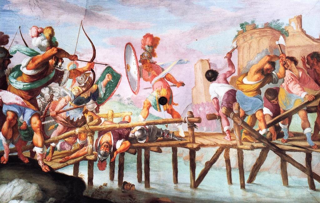 Orazio Coclite respinge gli etruschi sul ponte Sublicio