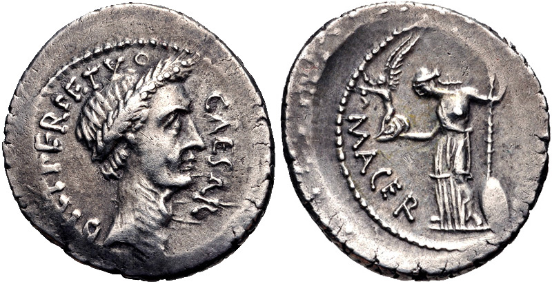 "Denario di Cesare con la dicitura  ""Dictator Perpetuus"""