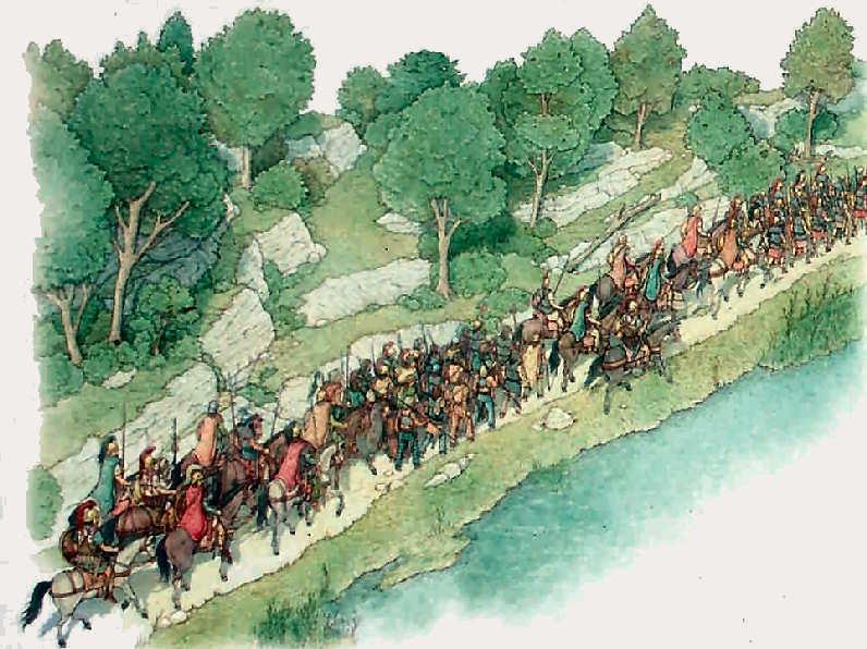 La colonna di soldati romani costeggiava il Trasimeno, ignara del destino che la attendeva.