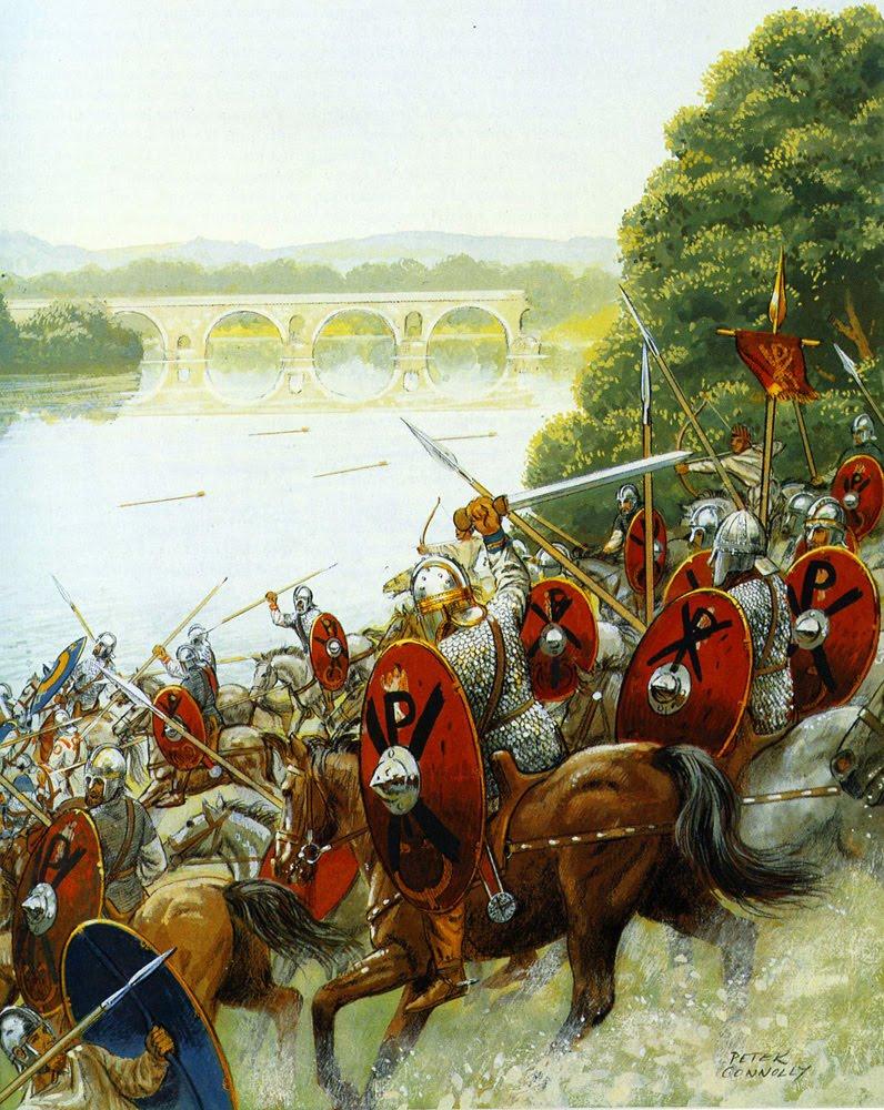 Le truppe di Costantino si scontrano con le legioni di Massenzio nei pressi di Ponte Milvio