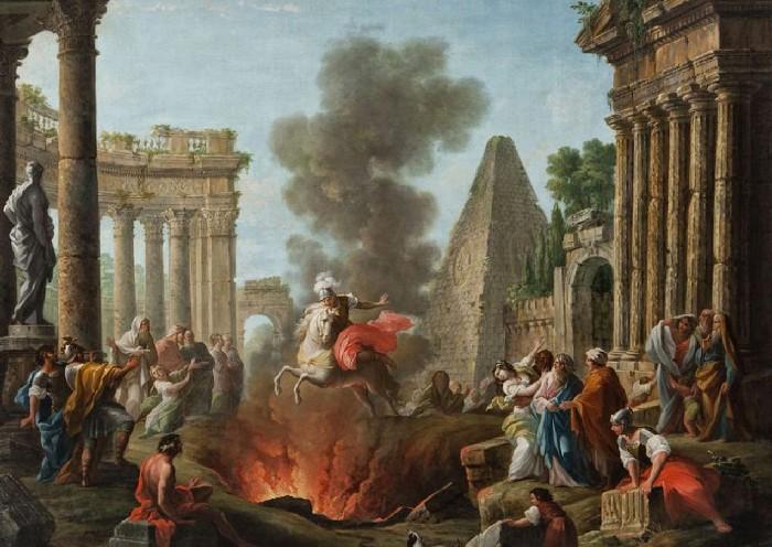 Marco Curzio in sella al suo cavallo si getta nella voragine