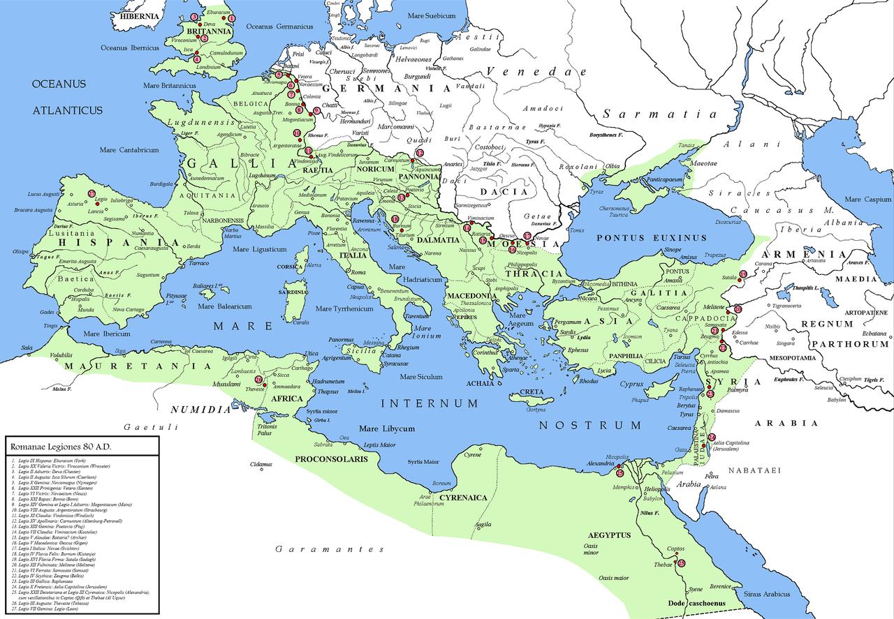 Posizionamento delle legioni dopo la rivolta giudaica, la Decima legione è contrassegnata al numero 24.