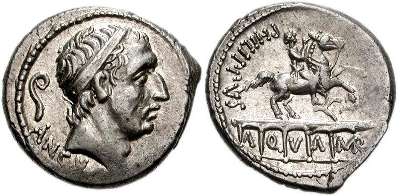 Moneta raffigurante il Re Anco Marzio appartenuto alla gens Marcia.