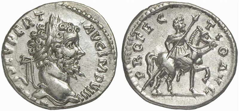 Moneta che rappresenta la partenza di Settimio Severo per le  operazioni militari  in Partia.