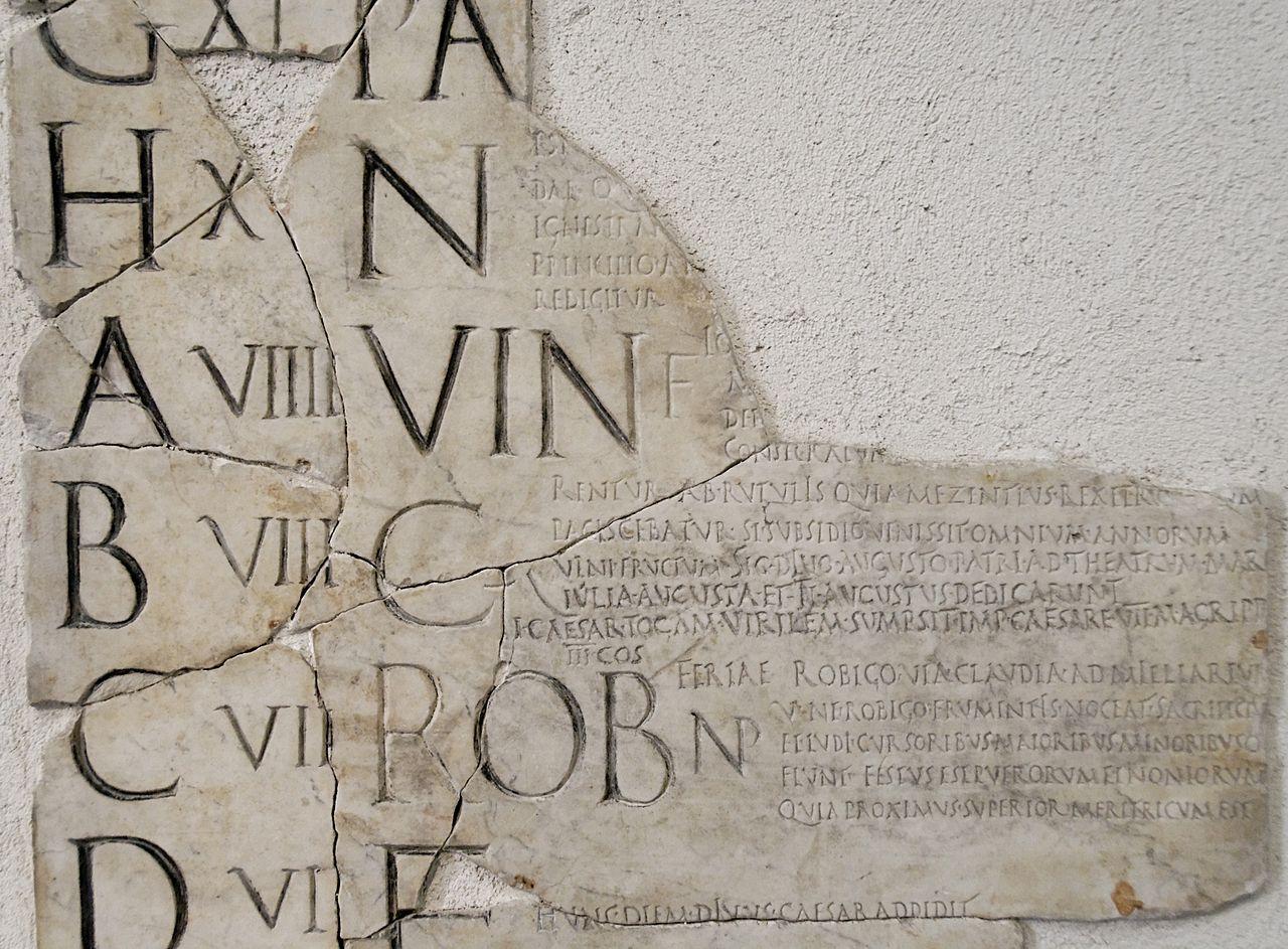 Frammento dei Fasti prenestini, che per il mese di Aprile riporta le festività dei Vinalia  e dei Robigalia.