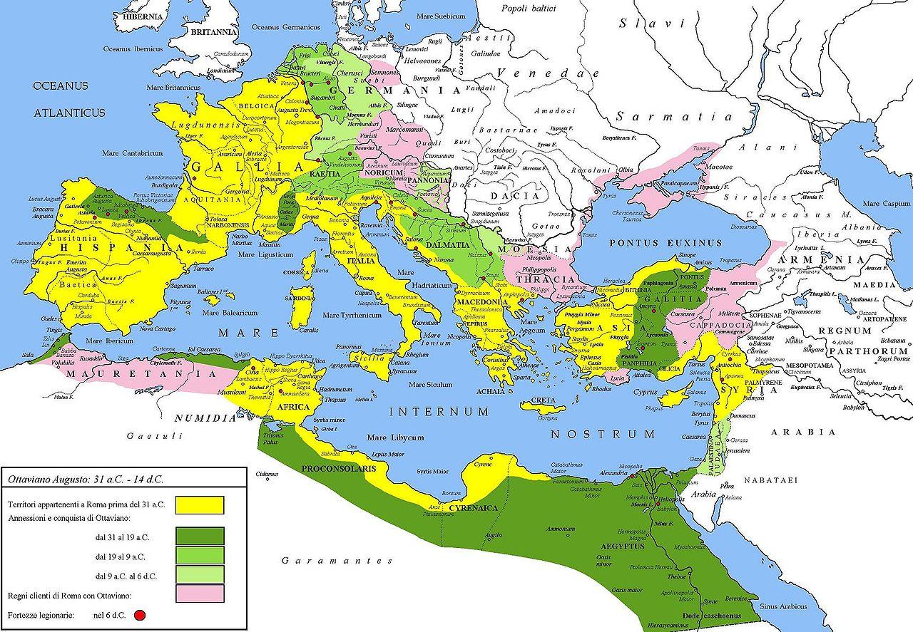 Le conquiste del principato di Augusto, comprese quelle dell'area di Rezia e Vindelicia.