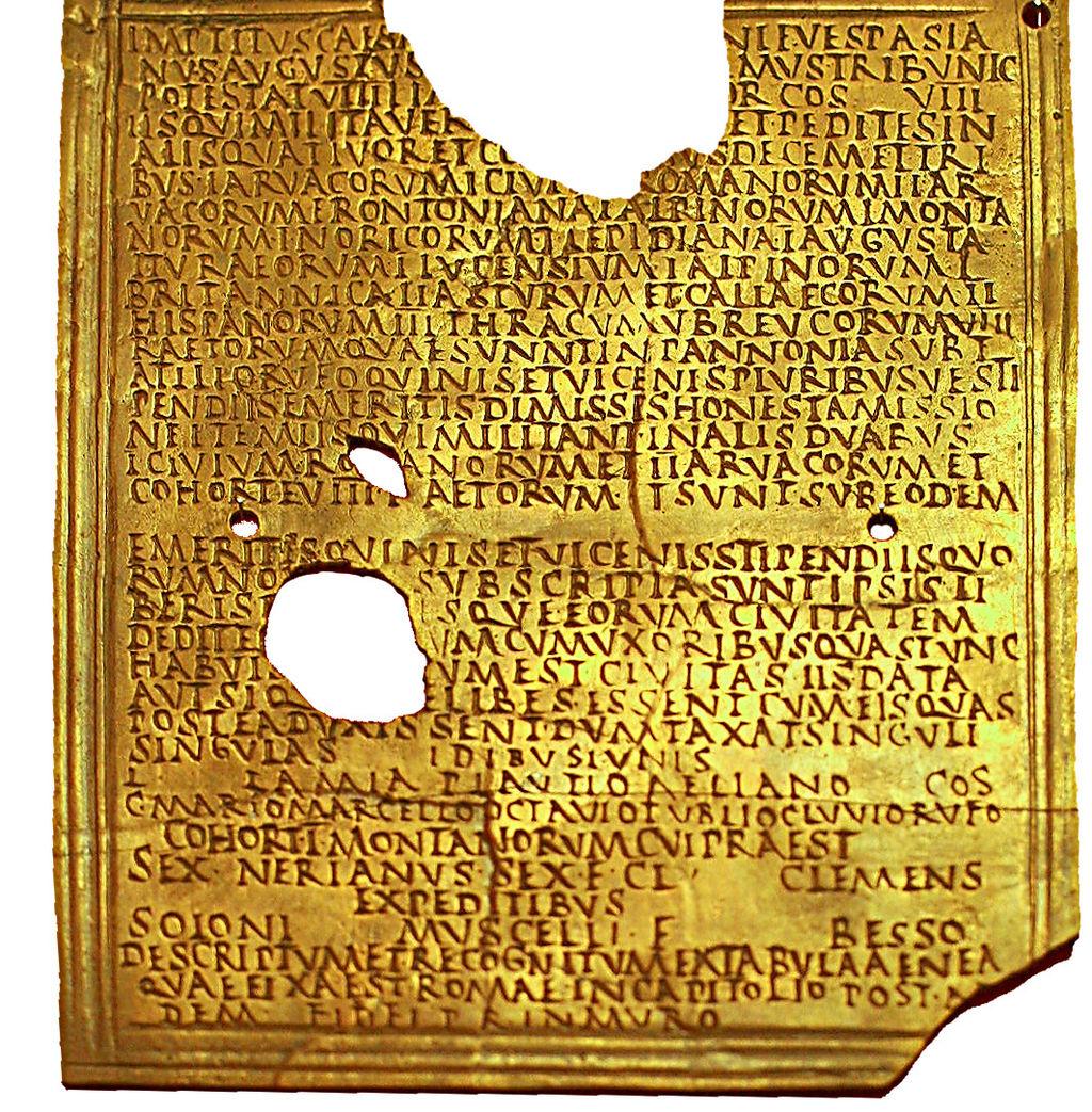 Un diploma militare distribuito al termine della honesta missio, rinvenuto nei pressi della fortezza legionaria di Carnuntum