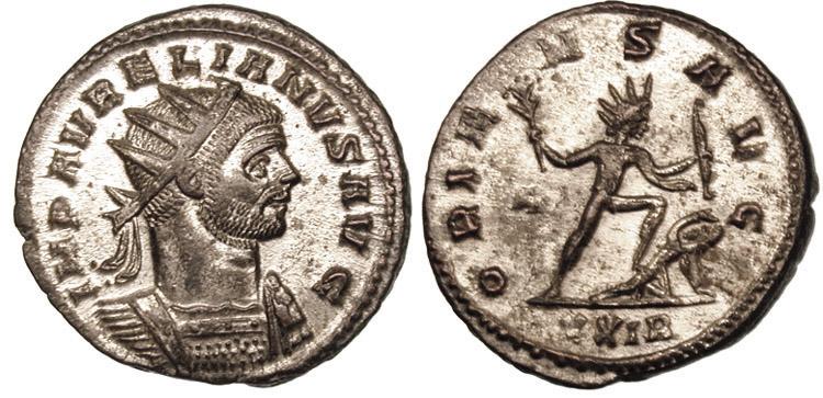 Aureliano con la corona radiata, su una moneta di bronzo