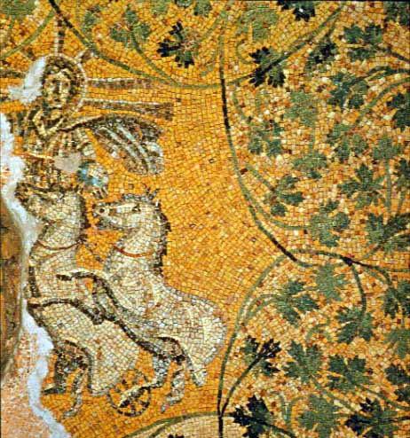Ipotetica raffigurazione di Gesù nelle vesti del dio-sole Apollo-Helios/Sol Invictus alla guida del carro.