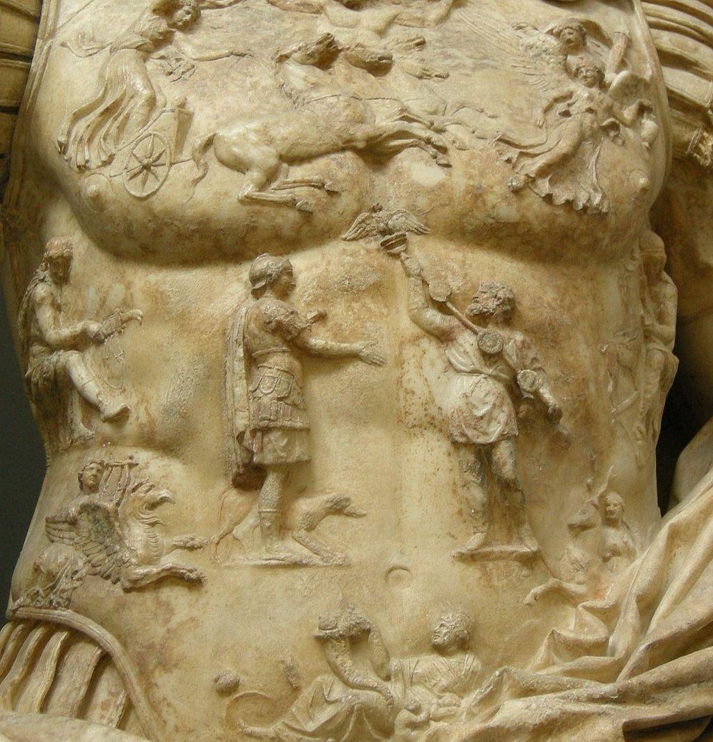 Sull'armatura dell'Augusto di Prima Porta il Re dei Parti Fraate, riconsegna l'aquila perduta da Crasso nella disfatta di Carre.