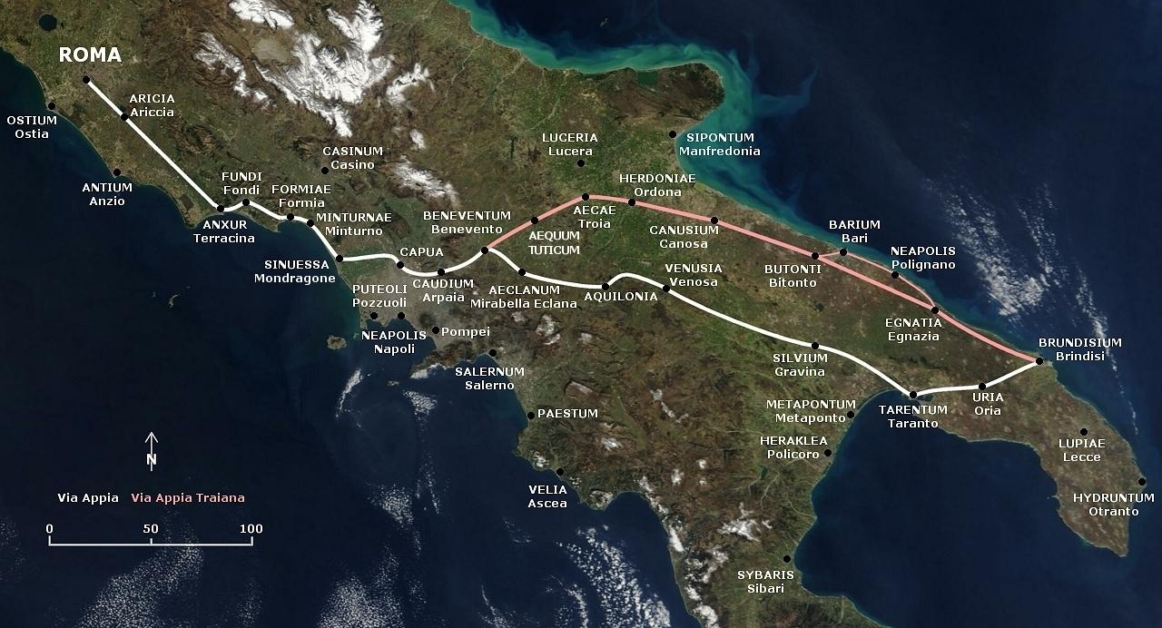 i percorsi della via Appia antica e della via Traiana.